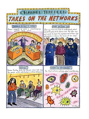 Channel Thirteen Takes On The Networks Art Print by Roz Chast