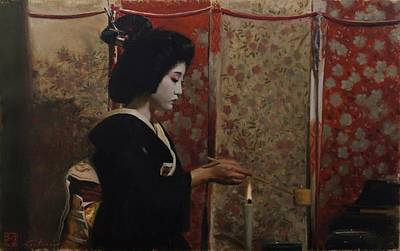 Japanese Painting - Chanoyu - Geisha Painting by Phil Couture