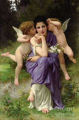 Chansons De Printemps Art Print by William Adolphe Bouguereau