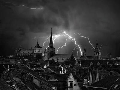 Chaos In The Sky Of Bruges Art Print