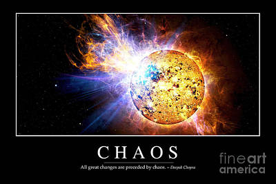 Sun Rays Digital Art - Chaos Inspirational Quote by Stocktrek Images