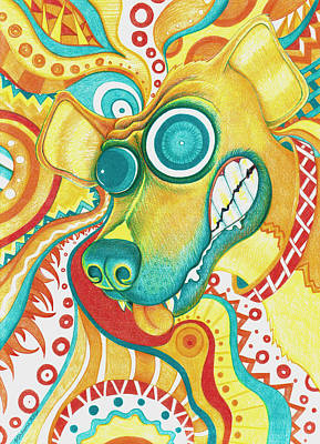 Abstract Shapes Drawing - Chaotic Canine by Shawna Rowe