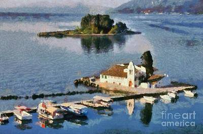 Painting - Panagia Vlachernon Monastery In Corfu Island by George Atsametakis
