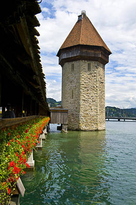 Photograph - Chapel Bridge And Water Tower In Lucerne Switzerland by Pam  Elliott