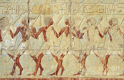 Art Print featuring the relief Chapel Of Hathor Hatshepsut Nubian Procession Soldiers - Digital Image -fine Art Print-ancient Egypt by Urft Valley Art