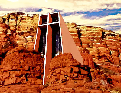 Painting - Chapel Of The Holy Cross  by Bob and Nadine Johnston