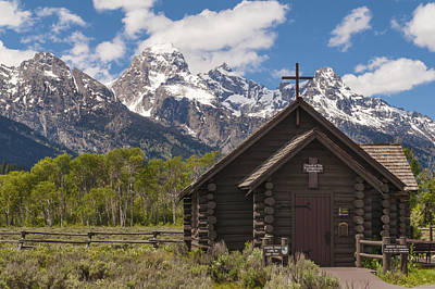 Log Cabin Art Photograph - Chapel Of The Transfiguration - Grand Teton National Park Wyoming by Brian Harig