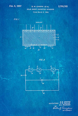 Chapin Solar Cell Patent Art 1957 Blueprint Art Print