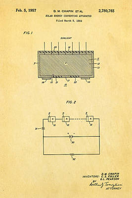 Chapin Photograph - Chapin Solar Cell Patent Art 1957 by Ian Monk