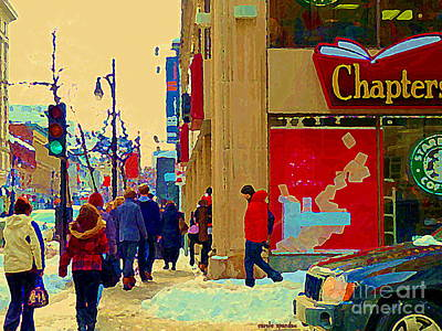 Quebec Streets Painting - Chapters Book Store Downtown Montreal Winter Shopping St Catherine Street Scene C Spandau by Carole Spandau