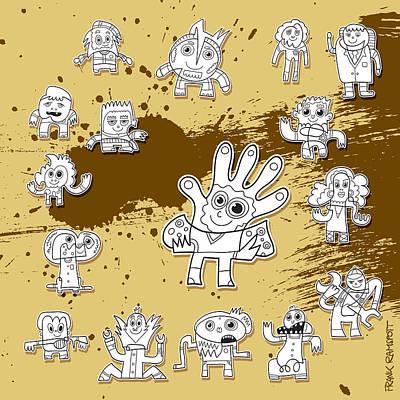 Character Doodles Urban Grunge Art Print