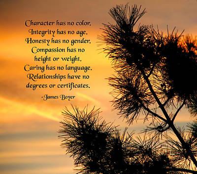 Character Has No Color Art Print