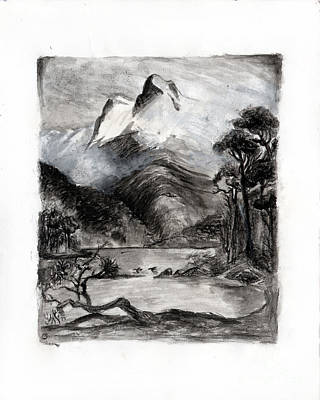 Charcoal Hills Art Print by Gee Lyon