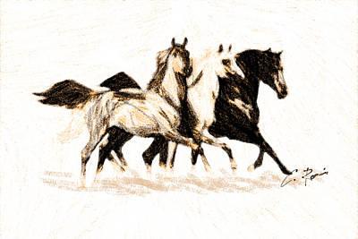 Digital Art - Charcoal Horses by Charlie Roman