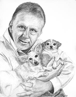 Drawing - Charcoal Person And Pet Portrait by Kate Sumners