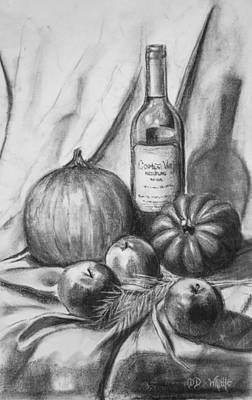 Drawing - Charcoal Still Life Harvest by Dee Dee  Whittle
