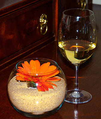 Glass Of Wine Digital Art - Chardonnay And Sand Flower by Optical Playground By MP Ray