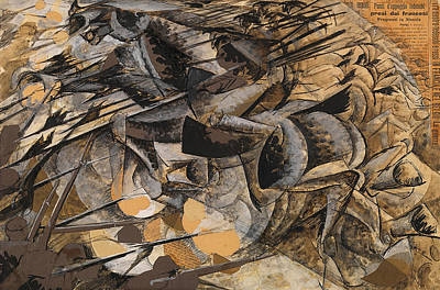 Fantasy Mixed Media - Charge Lancers by Umberto Boccioni