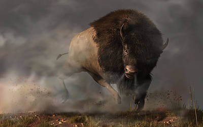 Brown Tones Digital Art - Charging Bison by Daniel Eskridge