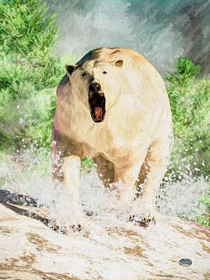 Digital Art - Charging Polar Bear by Daniel Eskridge