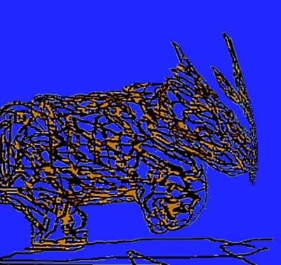 Charging Rhino Art Print by Jamie ian Smith