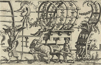Satyr Drawing - Chariot Drawn By A Satyr And Two Bulls, Print Maker by Anonymous And Cornelis Bos