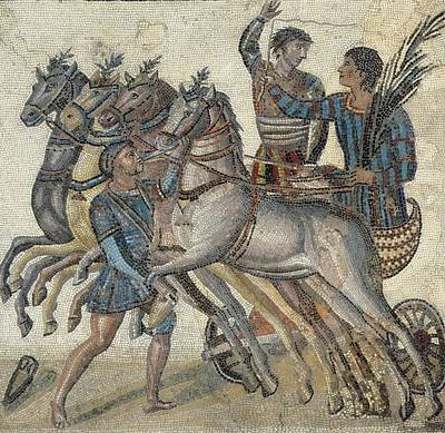 Chariot Race 3rd C.. Roman Art. Early Art Print by Everett