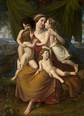 Boucher Painting - Charity by Wilhelm Schadow