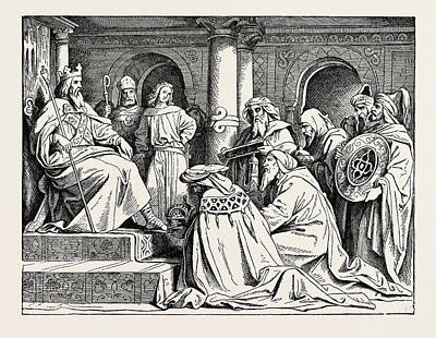 Charlemagne Receiving Ambassadors From Haroun Al Raschid Art Print