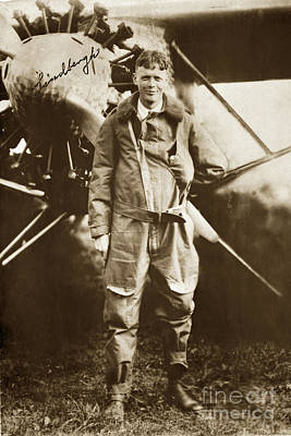 Photograph - Charles A. Lindbergh And Spirit Of St. Louis May 12 1927 by California Views Archives Mr Pat Hathaway Archives