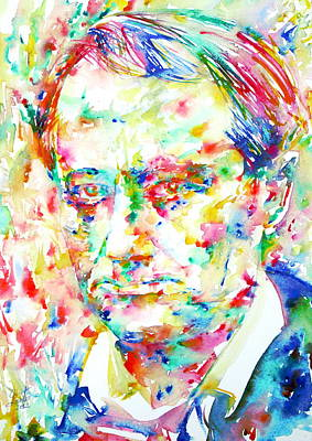 Charles Baudelaire Watercolor Portrait.1 Art Print