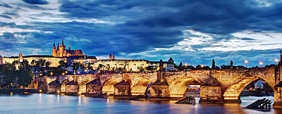 Photograph - Charles Bridge And Prague Castle Panorama / Prague by Barry O Carroll
