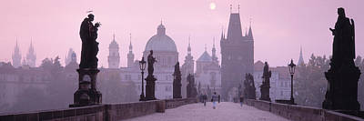 Prague Czech Republic Photograph - Charles Bridge And Spires Of Old Town by Panoramic Images