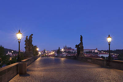 Charles Bridge At Dusk With Castle Art Print by Panoramic Images