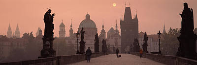Vltava Photograph - Charles Bridge At Dusk With The Church by Panoramic Images