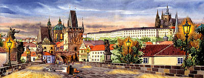 Prague Digital Art Digital Art - Charles Bridge Castle Vita by Dmitry Koptevskiy