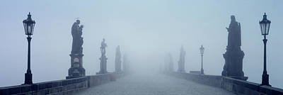 Prague Photograph - Charles Bridge In Fog Prague Czech by Panoramic Images