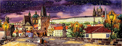 Charles Bridge Night  Art Print by Dmitry Koptevskiy