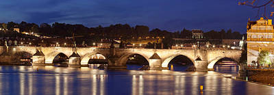 Prague Photograph - Charles Bridge Over Vitava River by Panoramic Images