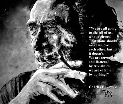 Fan Painting - Charles Bukowski by Richard Tito