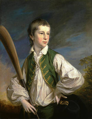 Charles Collyer As A Boy, With A Cricket Bat Signed Art Print by Litz Collection