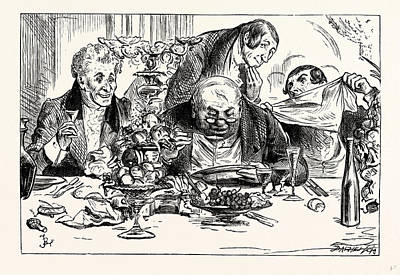 Classic Study Drawing - Charles Dickens Sketches By Boz Tureens Of Soup Are Emptied by Cruikshank, George (1792-1878), English