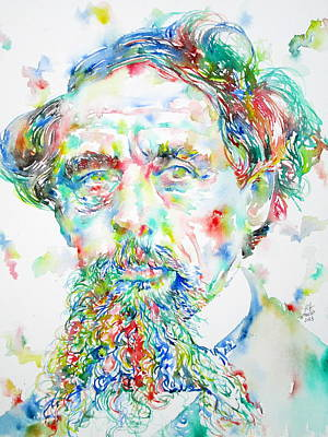 Dickens Painting - Charles Dickens Watercolor Portrait by Fabrizio Cassetta