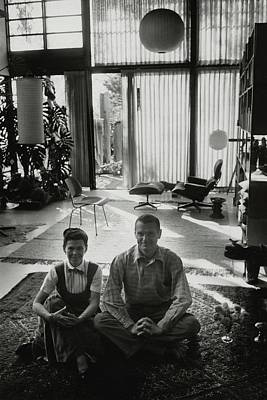 Eames Chair Wall Art - Photograph - Charles Eames And Ray Eames by John Bryson