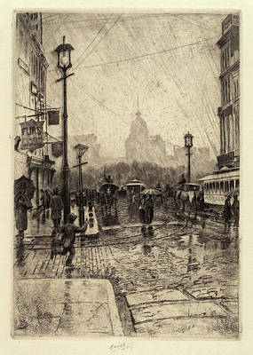 Rainy Day Drawing - Charles Frederick William Mielatz, Rainy Day by Quint Lox
