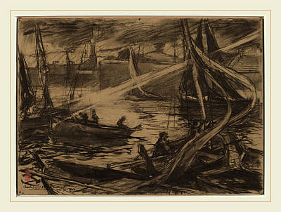 Storm Drawing - Charles Fromuth, The Storm, American, 1858-1937 by Litz Collection