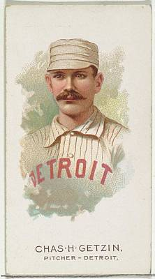 Baseball Cards Drawing - Charles H. Getzin, Baseball Player by Allen & Ginter