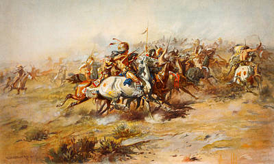 Charles Marion Russell   The Custer Fight 1903 Print by MotionAge Designs