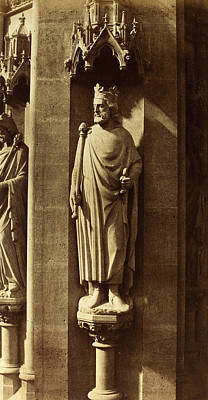 Clovis Drawing - Charles Marville French, 1813 - 1879, Statue Of Clovis by Quint Lox