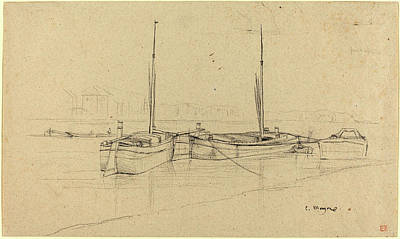 Charles River Drawing - Charles Meryon, French 1821-1868, Boats On River With Masts by Litz Collection